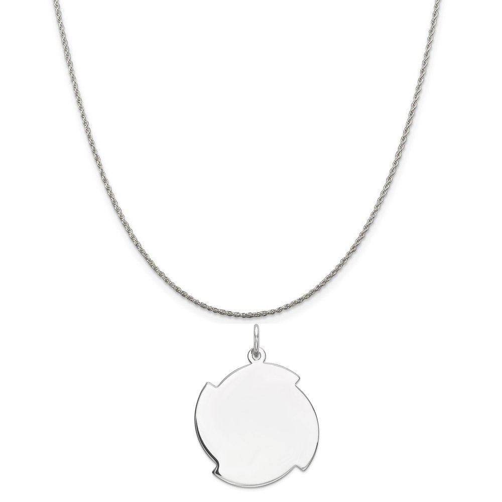 Mireval Sterling Silver Engravable Disc Charm on a Sterling Silver Chain Necklace 16-20