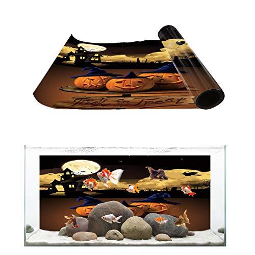 T&H Home Aquarium Décor Backgrounds - Halloween Trick or Treat Pumpkin Castle Full Moon Witch Fish Tank Background Aquarium Sticker Wallpaper Decoration Picture PVC Adhesive Poster, 36.4