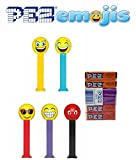 Pez Emojis Dispenser and Candy Refill Bundle (5 Dispensers and 6 Assorted Fruit PEZ CandyRefills)