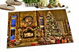 Merry Christmas Decoration Stylish Bath Rugs 3D Digital Printing 16x24 Inch Customized Personality Warm Golden Fireplace Tree Wreath Gifts Outdoor Indoor Front Door Mat Non-slip Bath Mat