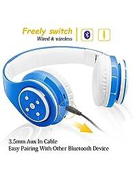Auriculares Bluetooth para niños, 85 db de volumen limitado, hasta 6   8 horas de reproducción, sonido estéreo, ranura para tarjeta SD, micrófono integrado y auriculares inalámbricos con cable para niños y niñas
