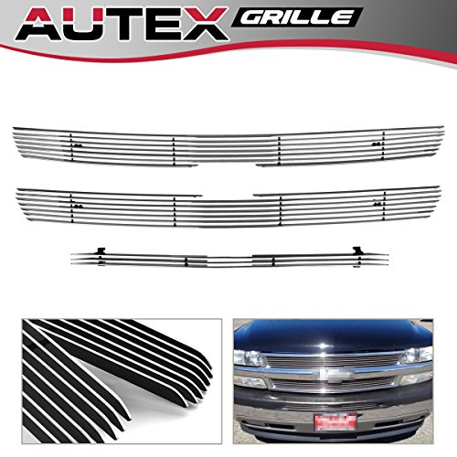 - AUTEX C61010A Chrome Billet Grille Insert Combo Compatible with 1999-2002 Chevy Silverado 1500/2500, 2000-2006 Chevy Tahoe/Suburban Grill Polished Aluminum