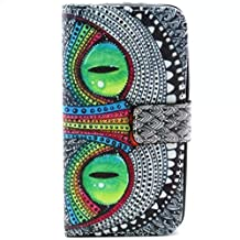 Galaxy Core LTE Case, Chinstyle Samsung Galaxy Core LTE G386W G386F Case PU Leather Wallet Case Magnetic Closure Smiling Cat Pattern Flip Cover