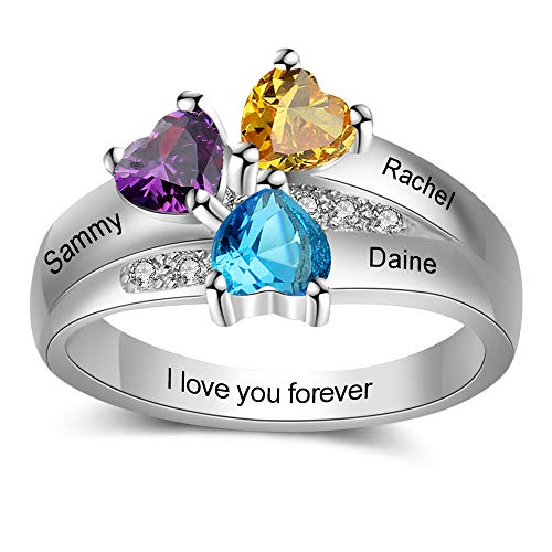 Personalized Simulated Birthstone Rings for Women Mothers Ring with Names Engraved Family Jewelry for Mom (7)