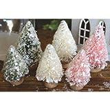 """Mini Bottle Brush Christmas Trees 6/Pkg-Green, Pink, White - 1.25"""" & .75"""" Each"""