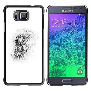 iKiki Tech / Estuche rígido - Monster White Minimalist Sketch Art - Samsung GALAXY ALPHA G850