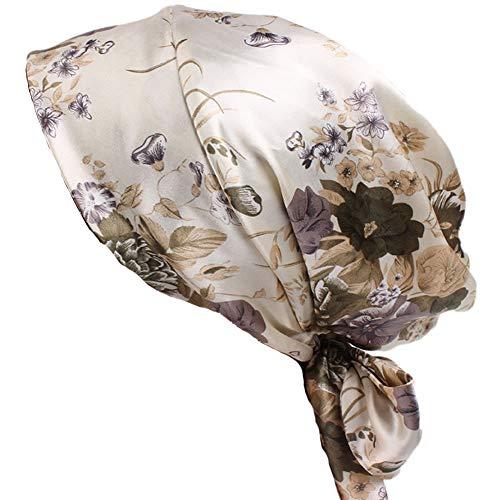 Womens Satin Head Scarf Pre Tied Silk Chemo Hat Turban Headwear for Cancer Beige