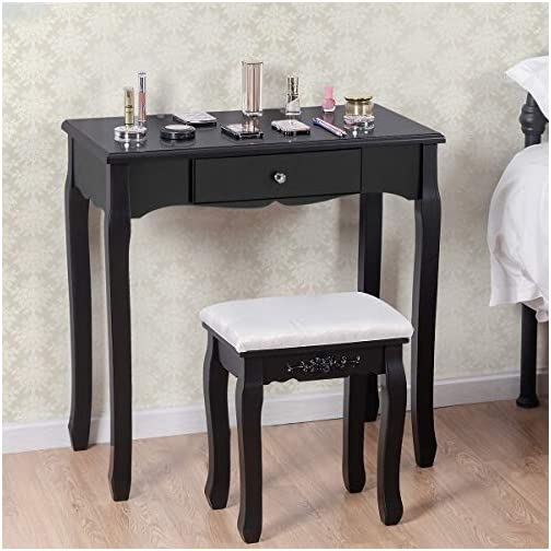 Giantex Vanity Table Set with Mirror and Stool for Bedroom Modern Wood Style Cushioned Bench Oval Mirrored Multifunctional Top Removable Writing Desk Dressing Tables for Girls, 4 Drawers
