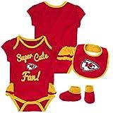 Outerstuff NFL NFL Kansas City Chiefs Newborn & Infant Mini Trifecta Bodysuit, Bib, and Bootie Set Red, 12 Months