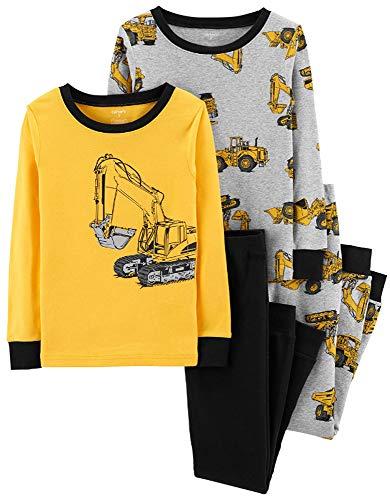 Carter's Little Boys' Snug Fit Cotton Pajamas (Yellow/Construction Machines, 7)