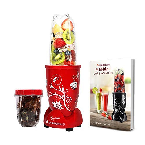 Renewed  Wonderchef 400 Watt Nutri Blend Juicer Mixer Grinder  Red  With Recipe Booklet