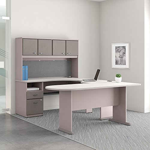 Bush Business Furniture Series A U Shaped Desk with Hutch, Peninsula and Storage For Sale