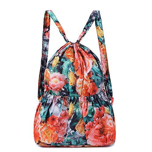 Dream3. - Bolso mochila para mujer Hojas Rosa Peonía