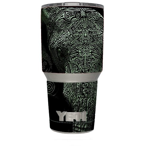 Skin Decal Vinyl Wrap for Yeti 30 oz oz Tumbler Cup (6-piece kit) / Aztec Elephant Tribal Design