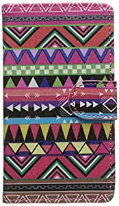 JUJEO Magnetic Flip Leather Wallet Case for Samsung Galaxy Core 2 G355H - Tribal Triangles - Carrying Case - Non-Retail Packaging - Multi