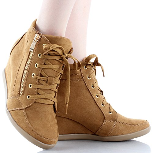 Coshare Womens Fashion Peggy-56 Suede PU Lace Up Upper Wedge Sneakers Tan FFBubcmudc