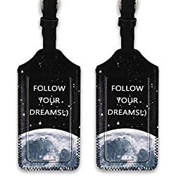 kandouren Luggage Tags 2 Pieces Set,Black Moon PU Leather travel bag tags for cruise ships,for men and women