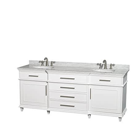 Delicieux Wyndham Collection Berkeley 80 Inch Double Bathroom Vanity In White With  White Carrera Marble Top With