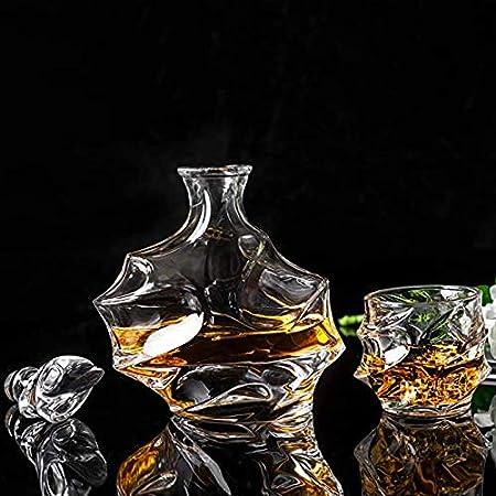 GAOXIAOMEI Juego De Jarra Y Vasos De Whisky (Tapón De Cristal + Jarra De 900 Ml + Seis Vasos De 320 Ml) - Jarra De Vino De Cristal 100% Sin Plomo - Idea Hombres