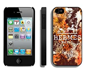 Case For iPhone 4 4S,Hermes Brand in Full Bloom Black iPhone 4 4S Case Cover