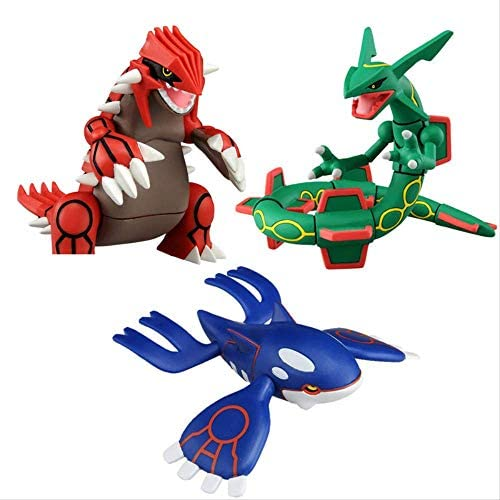 3Pcs Cartoon Sonne und Mond Kyogre Groudon Rayquaza Actionfigur Modell Spielzeug 8Cm, Anime Figur Puppen Spielzeug Sammlung Geschenke für Kinder
