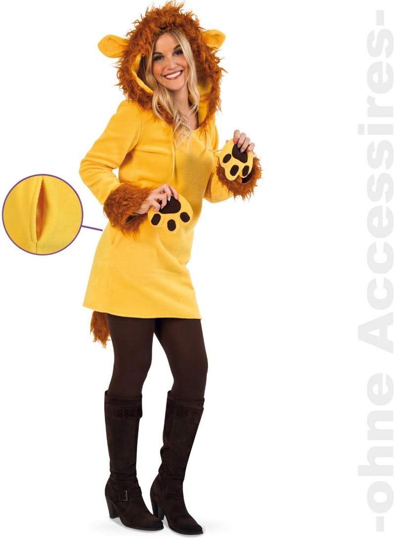 Fritz Fries & Söhne GmbH & Co Disfraz de Mujer león Leonie Vestido Amarillo Leona Carnaval (34, 36, 38, 40, 42) (34)