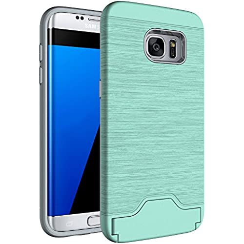 Onway Elegance Brushed Hard PC Flexible Rubber Dual Layer Card Slot Storage Shock Absorption Defend Case With Kiskstand For Samsung Galaxy S7 5.1 Inth Green Sales