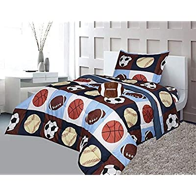 Golden Linens Twin Size 3 Pieces Printed Navy Blue, Sky Blue, Brown, Orange Kids Sports Basketball Football Baseball Comforter/Coverlet Set with Decorative Cushion Toy Pillow # 02-3Pcs: Home & Kitchen
