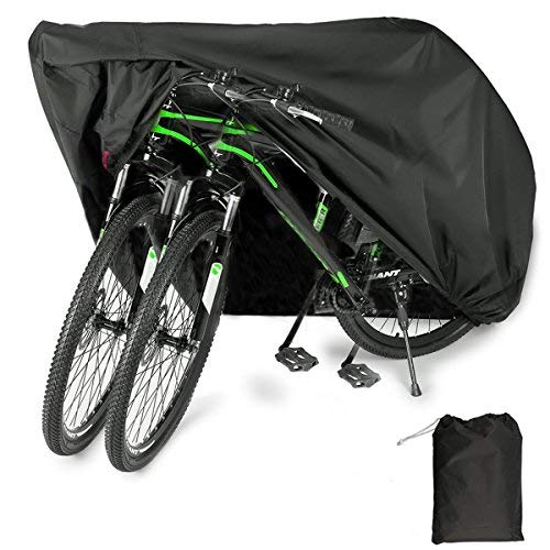 EUGO Bike Cover for 2 Bikes Outdoor Waterproof Bicycle Covers 210D Oxford Fabric Rain Sun UV Dust Wind Proof for Mountain Road Electric Bike