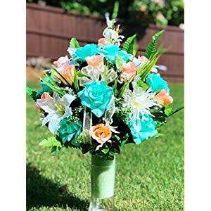 Cemetery Vase Arrangement ~ Beautiful Mum,Mint Open Rose,Peach Rose,Gladiolus and Lily Flowers Mixture Cemetery Flowers ~ for a 3 Inch Vase 32