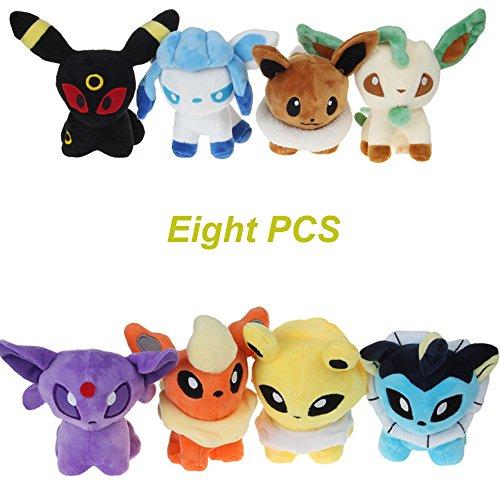 "8 Pcs Pokemon 5.5""Plush Toys Dolls Small Figures Eevee Evolution Stuffed Animal Set"