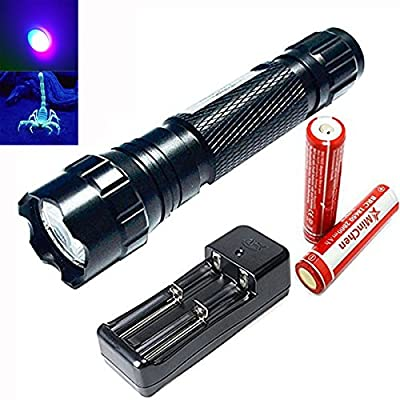 MinChen 501B UV LED Flashlight 5 Mode 395-410nm Rechargeable UV Ultraviolet LED Flashlight Torch+2pc Protected 18650 2000mAh Rechargeable Battery and Dual Slot Universal Charger