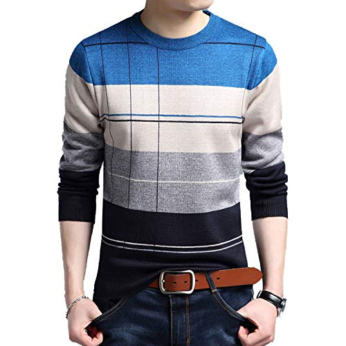(2018 Brand Social Cotton Thin Men's Pullover Sweaters Casual Crocheted Striped Knitted Sweater,Blue,XXL)