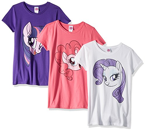 My Little Pony Girls' Little Pinki Pie Rarity Twilight Sparkle Big Face 3-Pack Tee Bundle, hot Pink/White/Purple Rush, 4 (My Little Pony Princess Mi Amore Cadenza)
