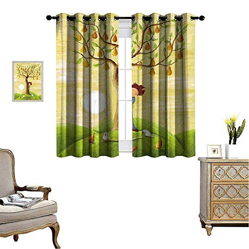 - fengruihome Room Darkening Curtains Sleep Well Blackout Curtain for Living Room/Bedroom Acrylic of Boy and Pear Tree 55
