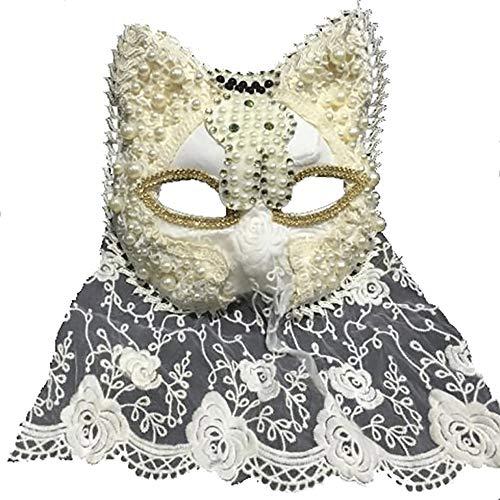 Nanle ハロウィーンクリスマスフリンジフェザーフラワークリスタルビーズマスク仮装マスクレディミスプリンセス美容祭パーティーデコレーションマスク (色 : Style F)