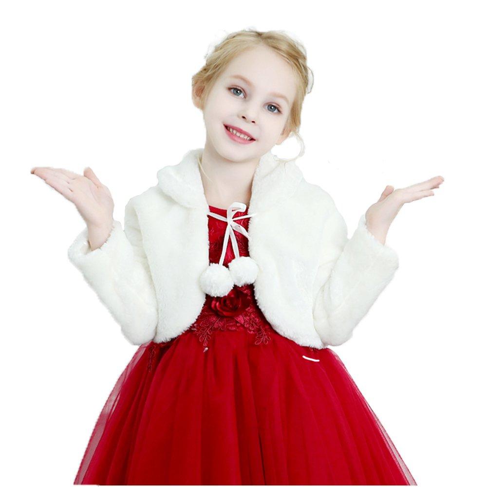 Girls Faux Fur Cape Bolero Jacket Long Sleeve Fur Coat Flower Girl Shrug Wedding Christmas For 1-12 Years Old