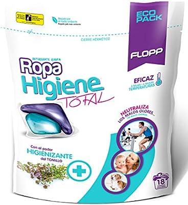 Flopp - Detergente para Ropa Higiene Total, 18 Cápsulas ...
