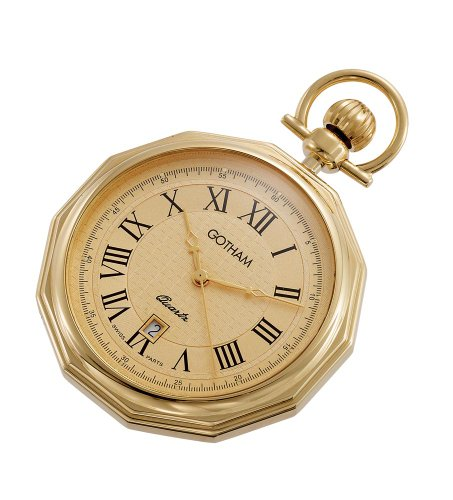 Gotham Men's Gold-Tone Swiss Quartz Date Movement Pocket Watch # GWC14049G