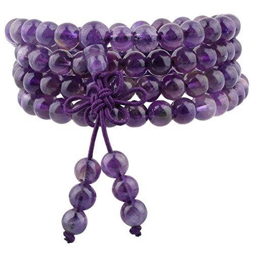 Quartz Bead Necklace - TUMBEELLUWA 6mm Stone Beads Bracelet for Women and Men, 108 Mala Prayer Beads Necklace for Unisex Elastic,Amethyst