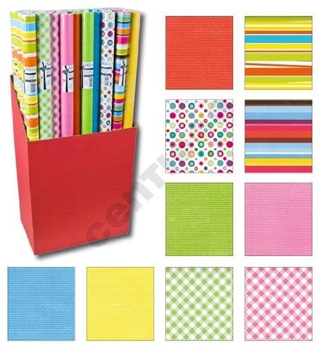 10er Rollen Set Streifen Punkte Kreise einfarbig Wellen gemustertes buntes Geschenkpapier 200 x 70 cm verschiedene Designs