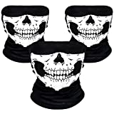 Rovtop Face Mask - Seamless Skull Face Tube Mask Motorcycle Stretchable Windproof Face Mask, 3PCS Facemask for Dust, Outdoors, Festivals, Sports