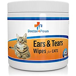 Ears & Tears Cleaning Wipes for Cats - Natural Treatment for Ear Mites, Ear Infections & Tear Stains - 100 Premium Presoaked Bleach Free Cotton Pads - Good for Rabbits & Chinchillas too