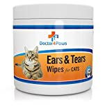 Doctor4Paws Ears & Tears Cleaning Wipes for Cats - Natural Treatment for Ear Mites, Ear Infections & Tear Stains - 100 Premium Presoaked Bleach Free Cotton Pads - Good for Rabbits & Chinchillas Too