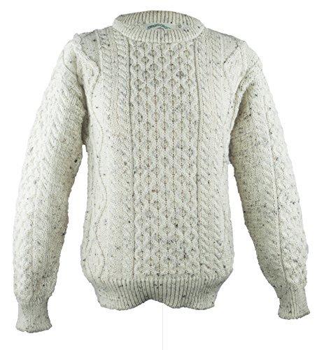 (100% Pure New Wool Irish Springweight Sweater (X-Large, Fleck))