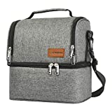 Canway Dual Compartment Lunch Bag, Insulated Two Layer Lunch Tote Leak-proof Bento Bag, Double Deck Cooler for Men, Women, Kids, for Office/School/Picnic/Travel/Camping