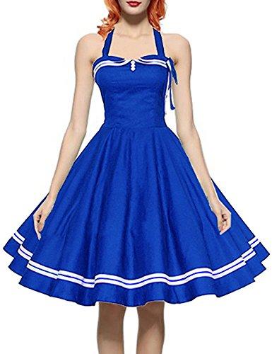 Saslax Women 50s Retro Vintage Halter Coaktail Swing Dress, Blue, XX-Large (Cheap Fancy Dress Plus Size)