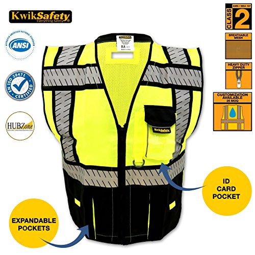 [KwikSafety Fishbone Tape Design Safety Vest | High Visibility Contrast Reflective Heavy Duty Pockets D-Ring Pass Through | Security Construction Motorcycle Traffic | Men Women | Black Mesh] (Horse Costume Class)