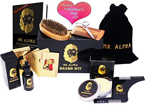 UPGRADED! - Beard Grooming Kit Gift Set for Men | Mustache Comb, Styling Comb, Beard Brush, Styling Wax Balm, Professional Trimming Scissors, Hydrating Beard Conditioner Oil | Organic Ingredients