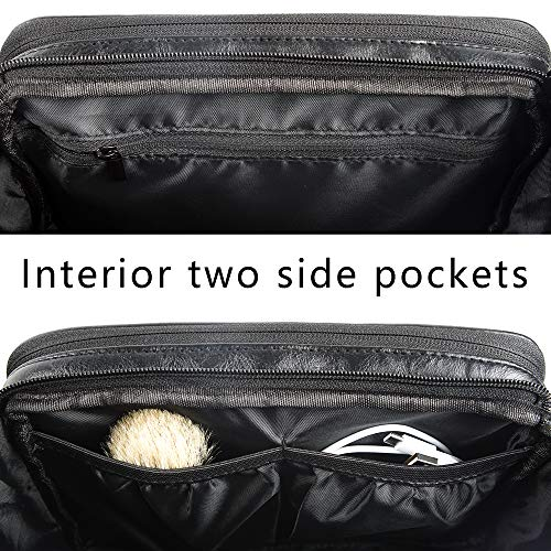 Toiletry Bag for Mens Large Dopp Kit Double zipper Travel Shaving Bag Synthetic Leather Cosmetic Bag Toiletries Accessories Organizer for Suitcase(Black)